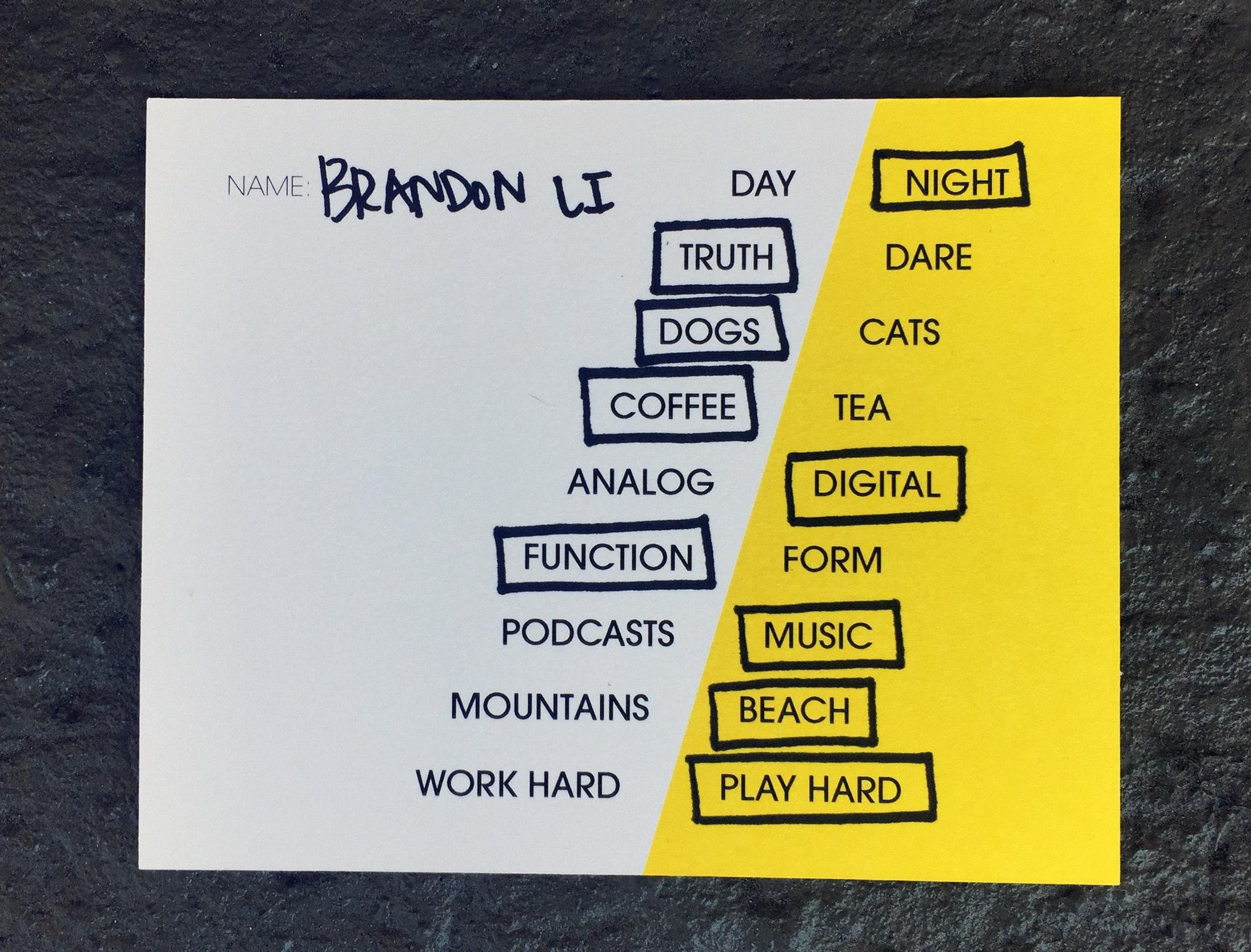 Brandon Li Card
