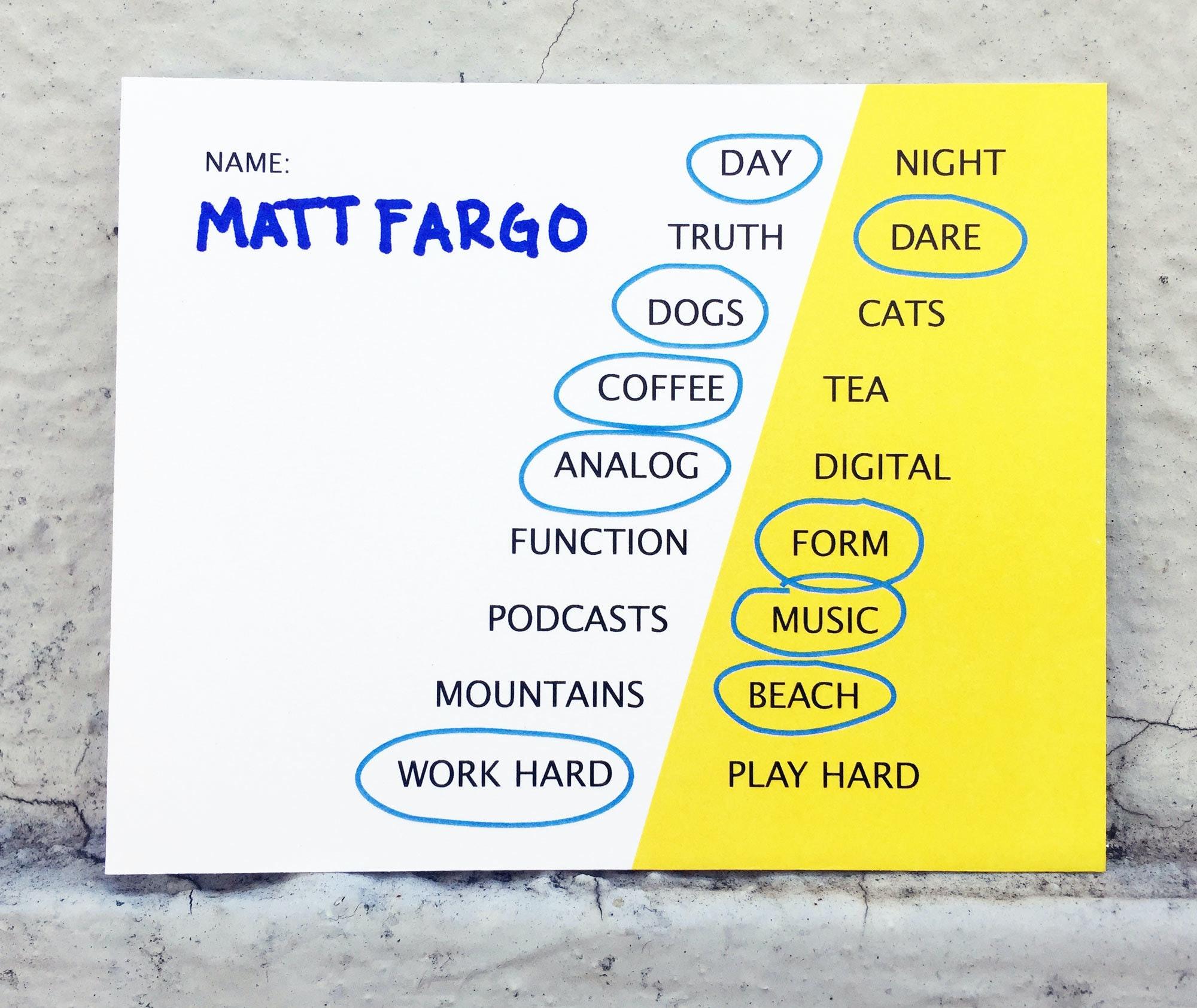Matt Fargo This Or That Card