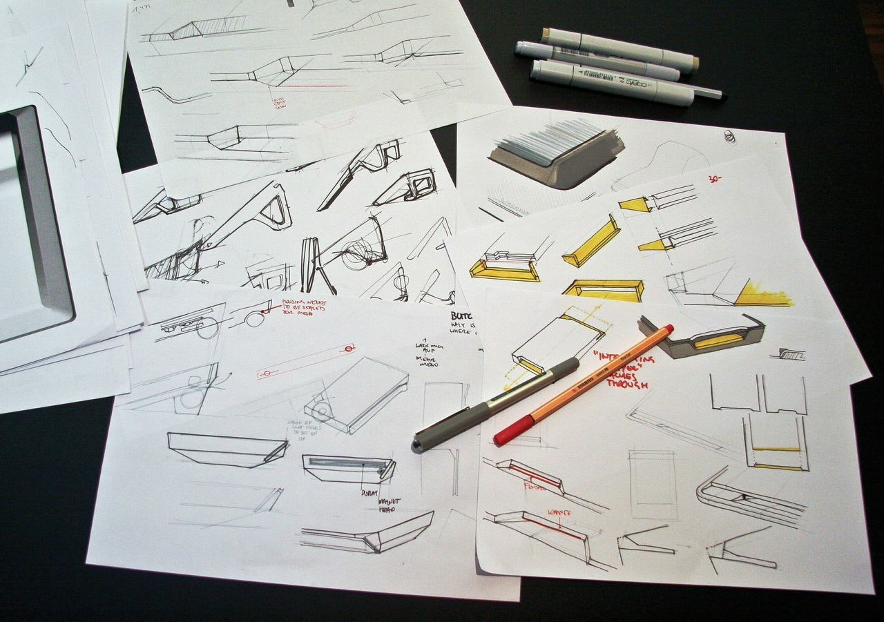 Product design sketches of portable payment device
